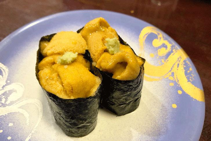 富山市郊外のちょっと贅沢な廻転鮨処すしだるまのウニ