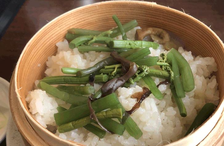 富山市北代のおしゃれラーメン屋【一力亭】の山菜わっぱ飯