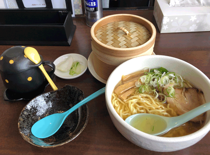 富山市北代のおしゃれラーメン屋【一力亭】の塩ラーメンとわっぱセット