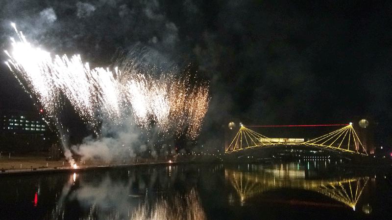 環水公園のイベントで上がった花火