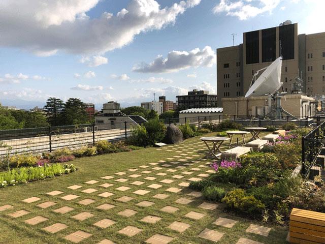 富山県庁舎の屋上庭園プチシエル(天井桟橋)2