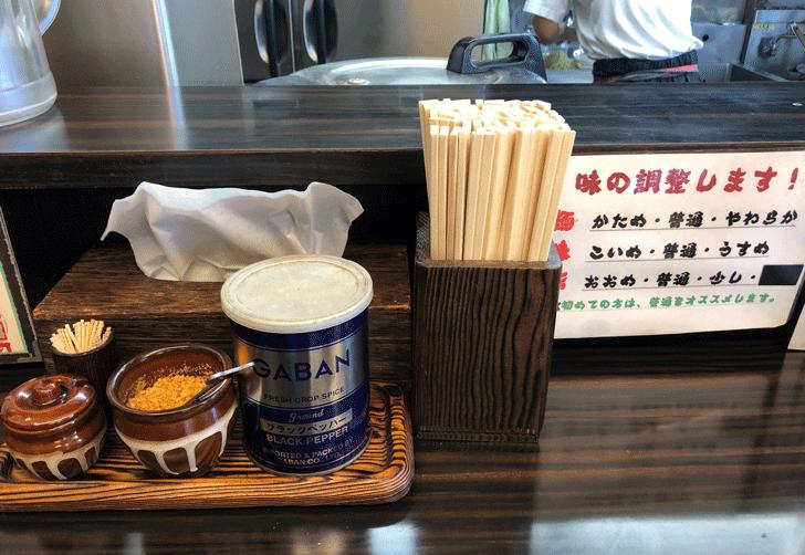 新高岡駅徒歩1分の「らーめん くり坊」の薬味