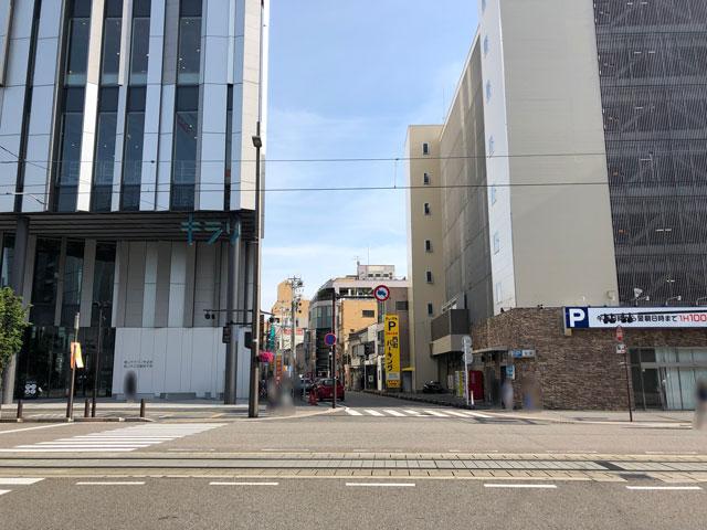 元祖富山ブラックラーメンの西町大喜のある大田口通り