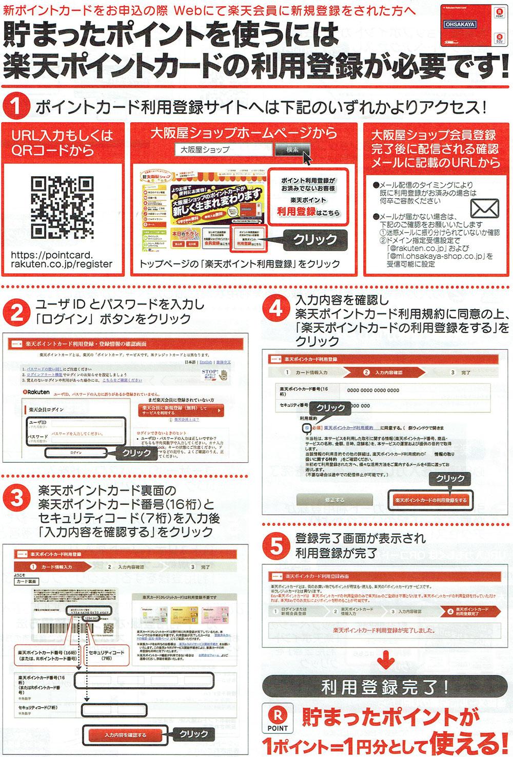 大阪屋ショップ楽天ポイントカード利用登録手順