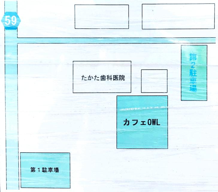 カフェ アウル OWLの駐車場マップ