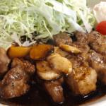 富山市金屋の庭付きカフェ アウル OWLの豚テキ定食