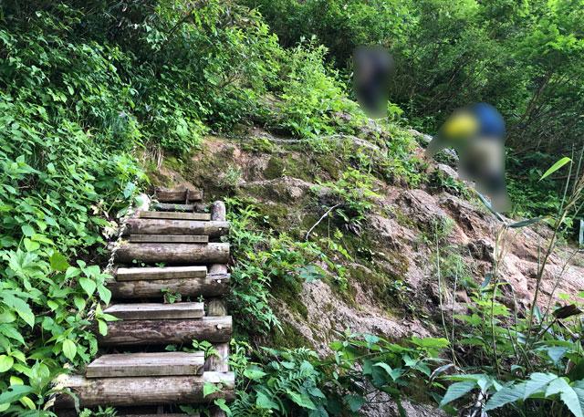 大日平までの登山道にある整備された階段と鎖場