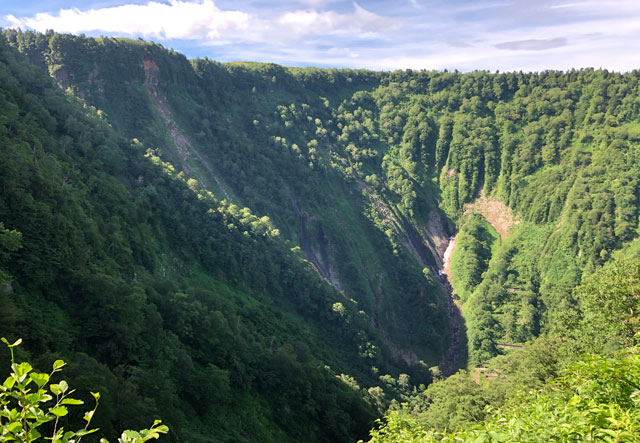 大日平までの登山道で、見えなくなった称名滝の滝見展望台