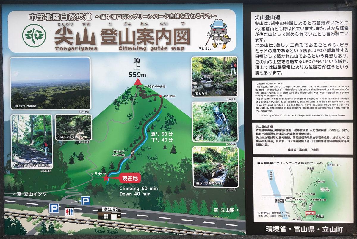 尖山(とんがり山)の登山案内図