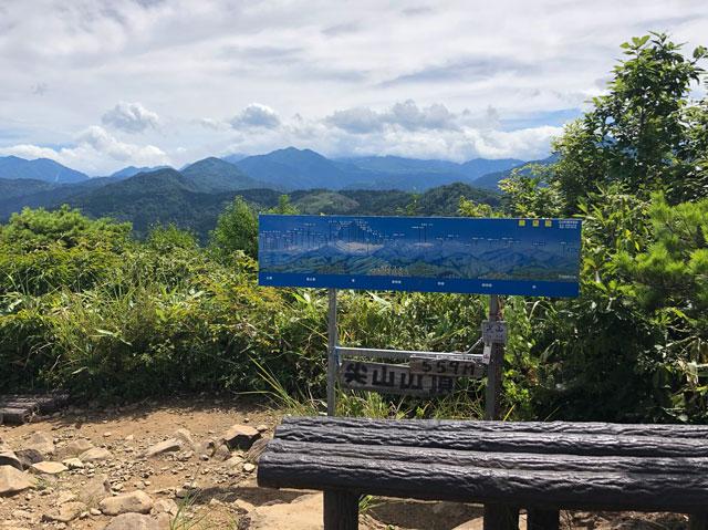 尖山(とんがり山)の頂上の案内看板