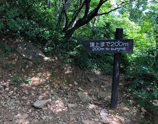 尖山(とんがり山)の緩い本道コースの頂上までの残り距離を示した看板200m