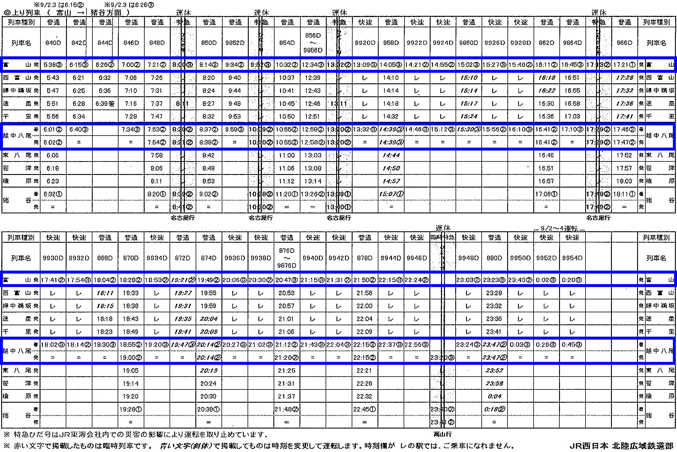 越中八尾おわら風の盆2018の臨時列車時刻(行き)