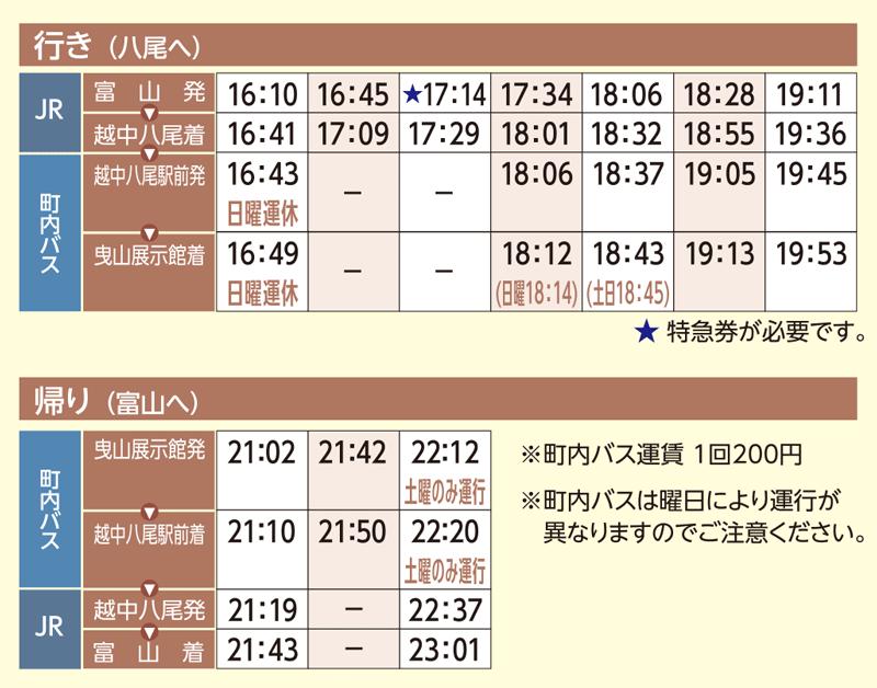 おわら風の盆2019の前夜祭の会場「越中八尾駅」への電車の時刻表