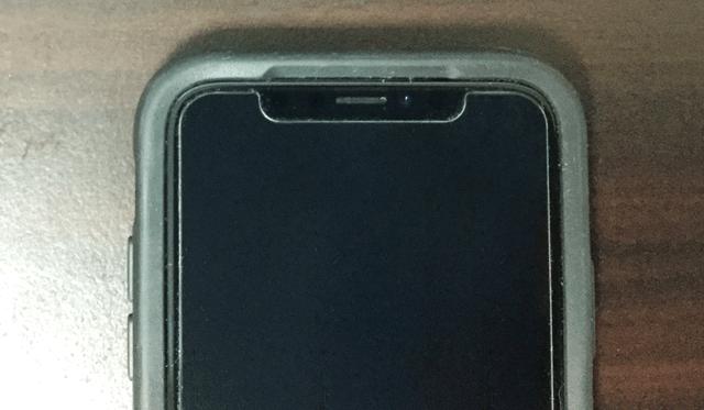 iphoneXにガラスフィルムを貼ったところ