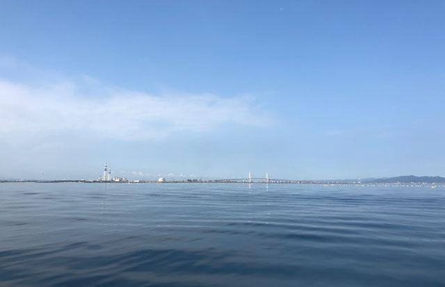 遠く海上から見る新湊大橋