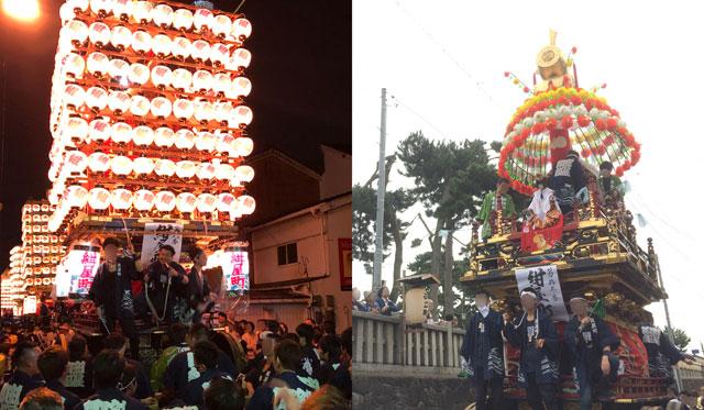新湊曳山祭の山車、花山と提灯山の違い
