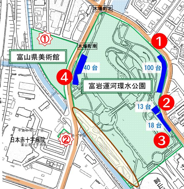 富山市富岩運河環水公園の無料駐車場マップ