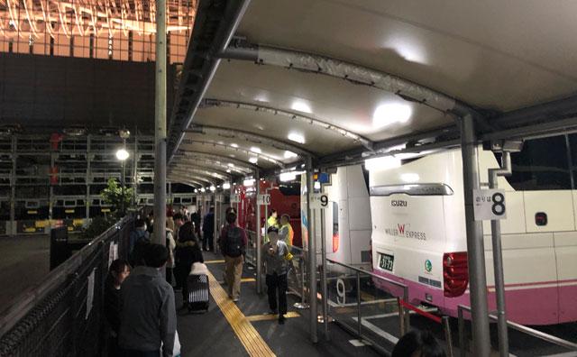 東京駅(丸ノ内鍛冶橋駐車場)の夜行バス乗り場の番号