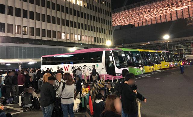 東京駅(丸ノ内鍛冶橋駐車場)の夜行バス乗り場のバス