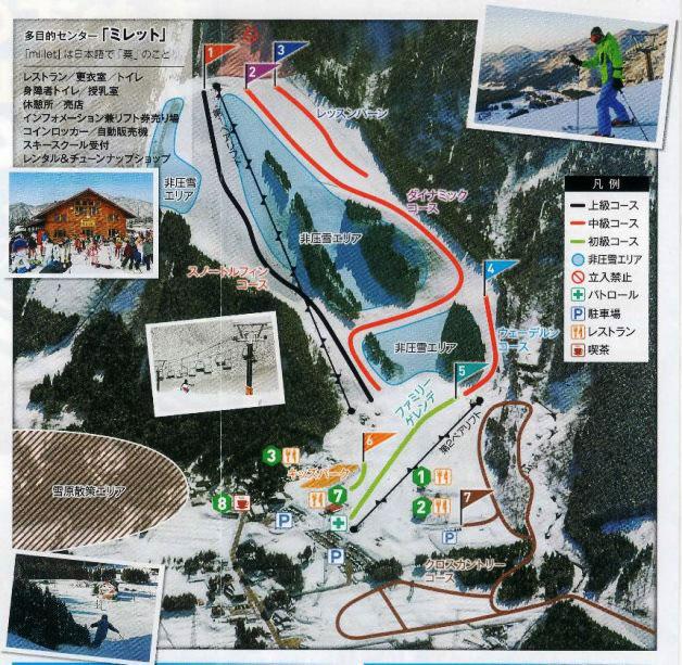 立山山麓あわすのスキー場のゲレンデマップ
