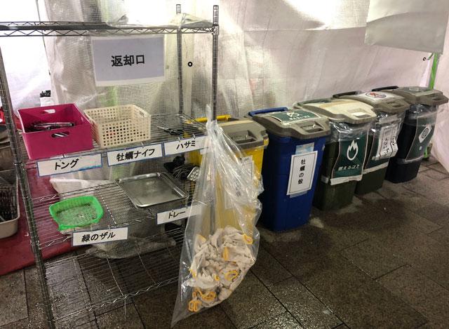 「東北復興支援 牡蠣奉行2018 富山」の返却口