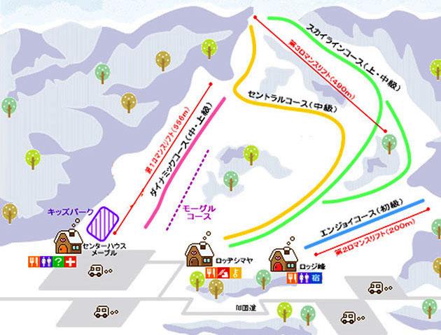 南砺市たいらスキー場のゲレンデマップ