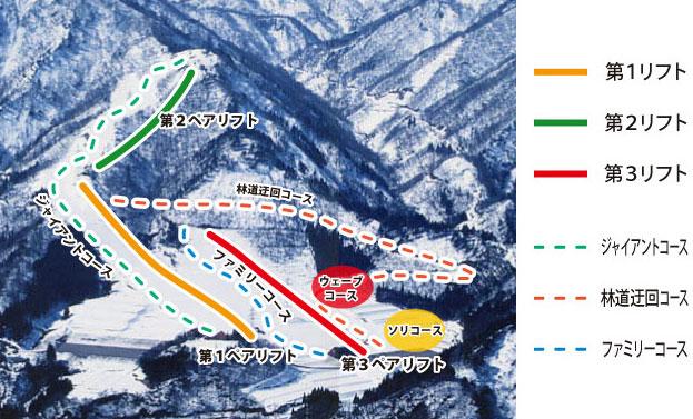 南砺市五箇山のタカンボースキー場のゲレンデマップ
