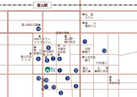 富山大和の無料提携駐車場17ヵ所の地図