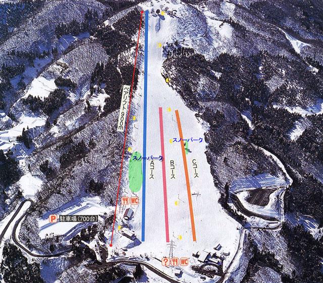 砺波市夢の平スキー場のゲレンデマップ