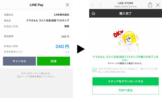 LINE STOREでLINE Pay支払いでスタンプ購入の確認画面