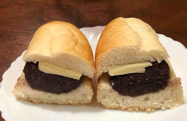 富山大学五福キャンパス目の前のパン屋さん「とやぱん」のプレミアムあんバターのカット面