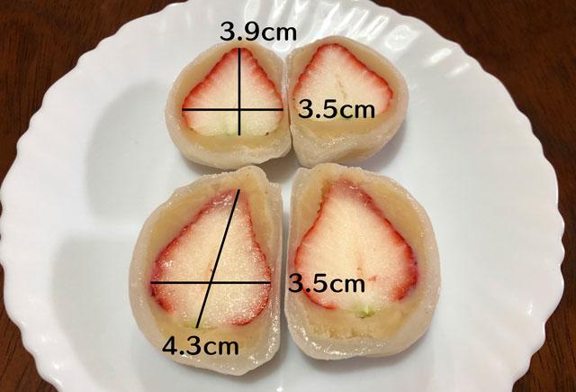 引網香月堂のいちご大福「いちご餅&プレミアムいちご餅」のいちご大福の苺のサイズ比較