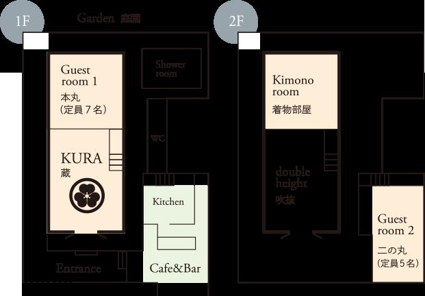 おわら風の盆で有名な越中八尾の宿泊施設「越中八尾ベースOYATSU」の間取り
