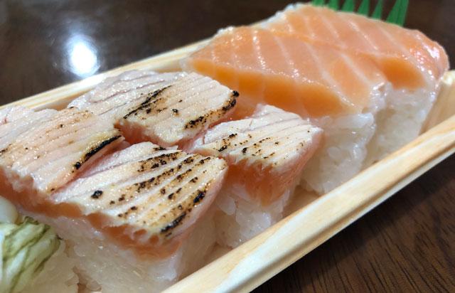 「おわら風の盆」の越中八尾町にあるます寿司店「寿司一(すしいち)」の炙りますのすし