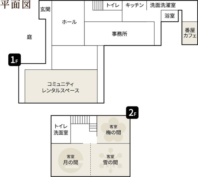 新湊内川エリアの民泊ゲストハウス「内川の家 奈呉」の見取り図