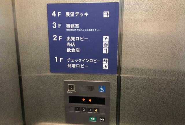富山きときと空港のエレベーター内の簡単なフロア案内