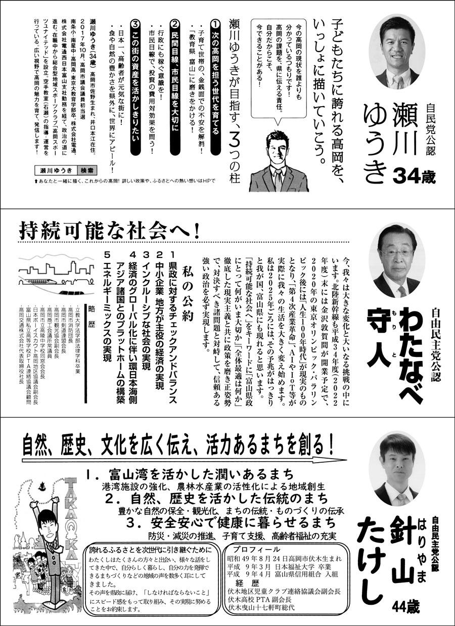 【富山県議会議員選挙2019】高岡市選挙区の選挙広報2