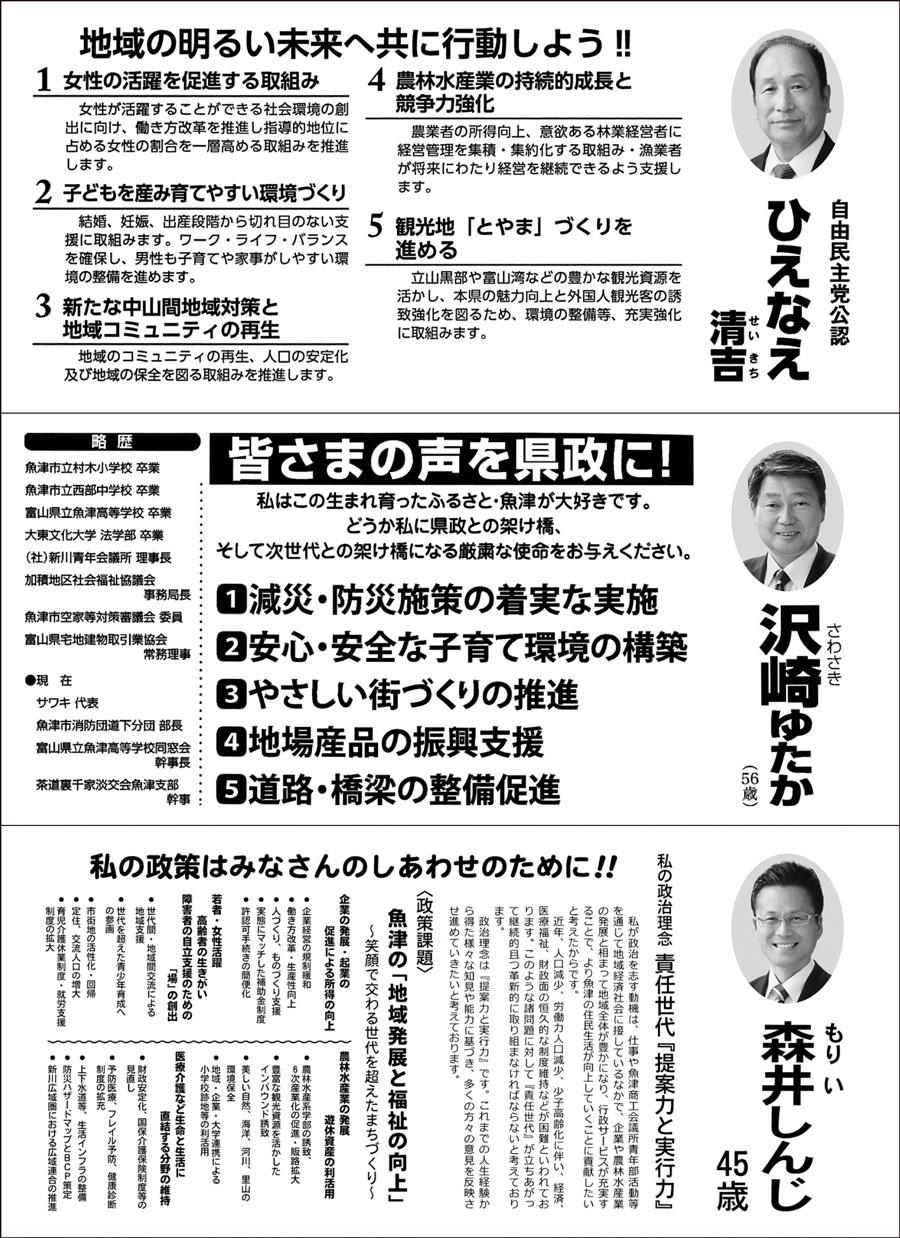 【富山県議会議員選挙2019】魚津市選挙区の選挙広報1