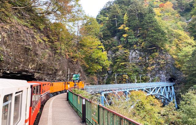 黒部峡谷トロッコ電車の「黒薙駅」の後曳橋