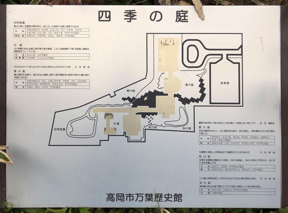 伏木にある高岡市万葉歴史館の四季の庭の地図