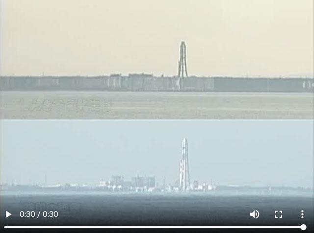 富山県魚津市の蜃気楼の比較動画