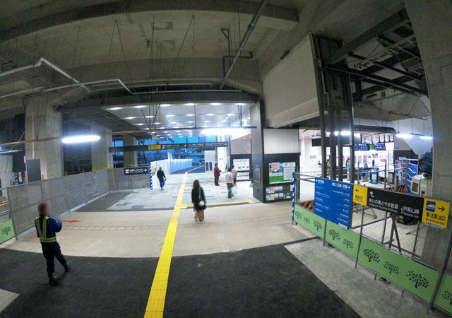 富山駅の南口側のあいの風富山鉄道の中央改札と南北開通通路