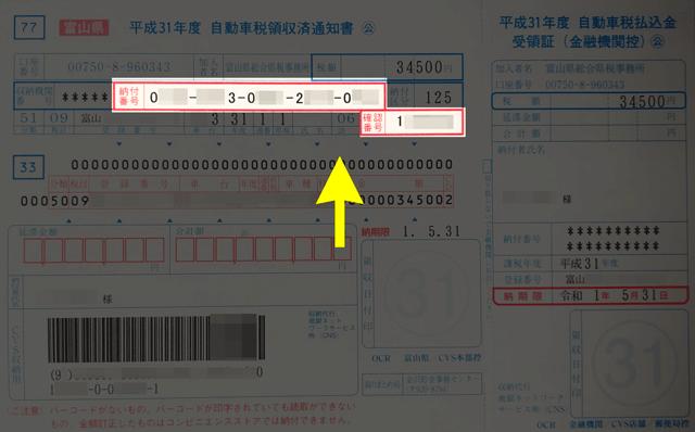 自動車税納付用の「自動車税領収済通知書」記載の「納付番号」と「確認番号」