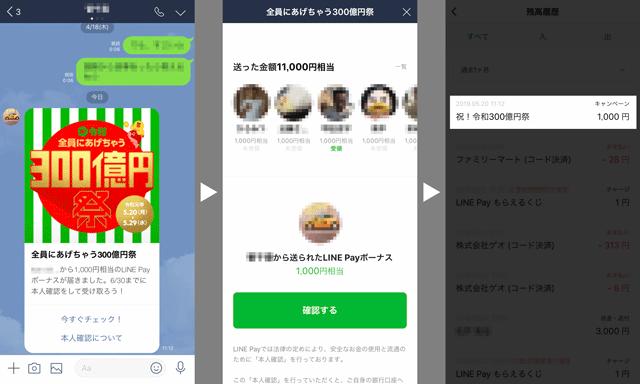 「LINE Pay 300億円祭」の受け取り方