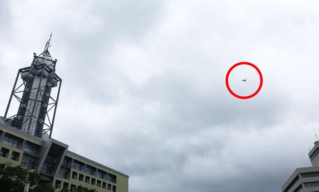 朝乃山関の優勝凱旋パレードを追いかけるヘリコプター