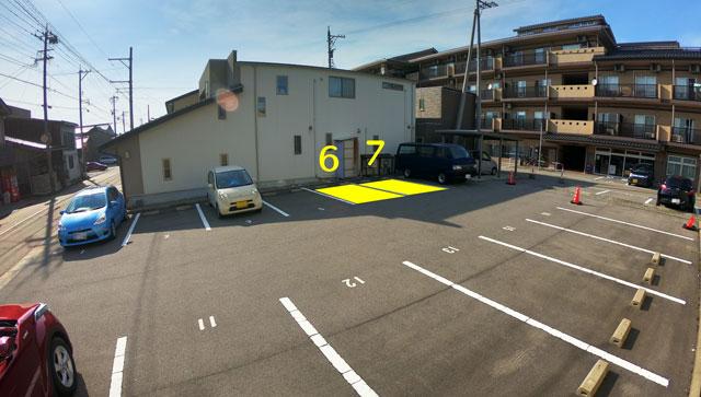 水辺の民家ホテル「ウミネコ」の駐車場