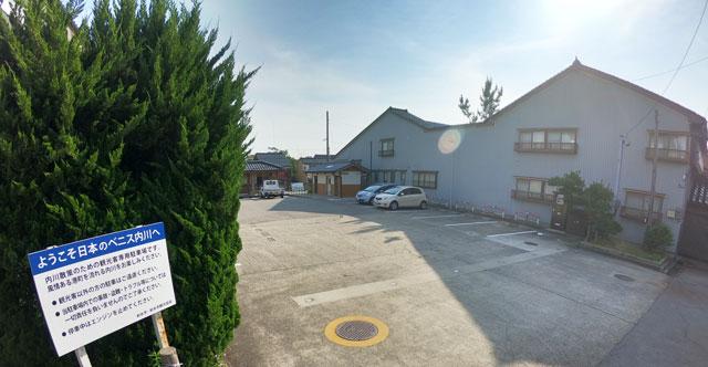 富山県射水市内川の観光用駐車場