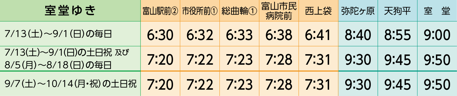 JR富山駅→室堂までの富山地方鉄道直行バスの時刻表