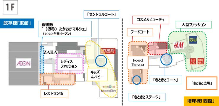増床リニューアルした西館も含めたイオンモール高岡のフロアマップ(1F)