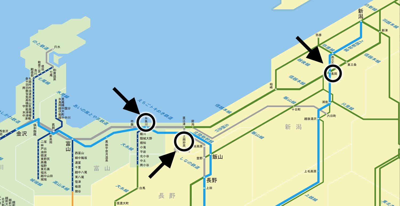 台風19号の影響による北陸新幹線 臨時はくたか号の路線図